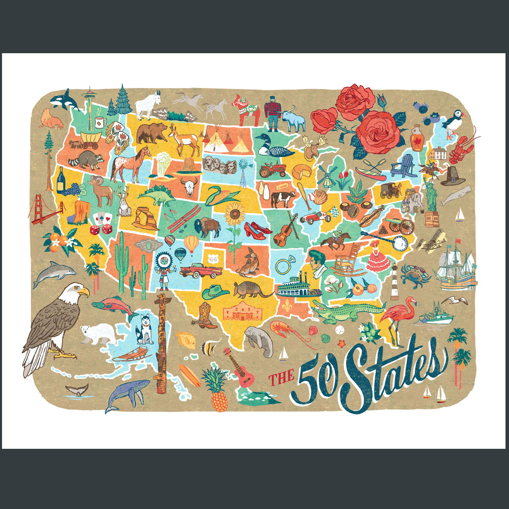 States Map Print Chandler OLeary - Fifty states map