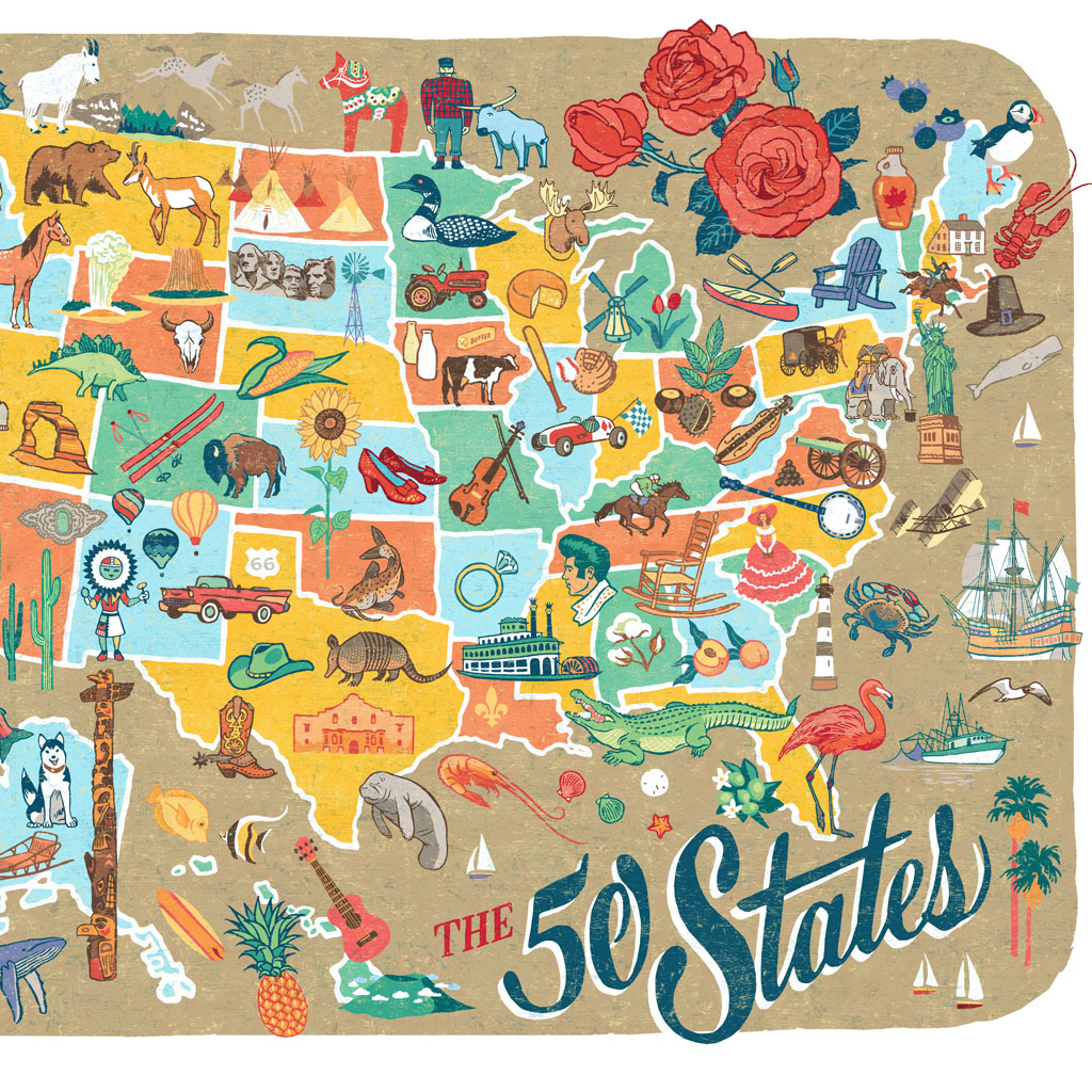 50 States Map print – Chandler O\'Leary