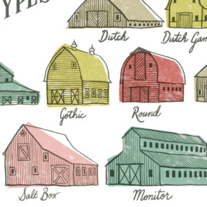 Farm to Table - Barn Types print by Chandler O'Leary