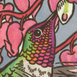 Detail of Anna's Hummingbird card by Chandler O'Leary