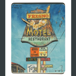 Fresno Motel Sign sketchbook print by Chandler O'Leary