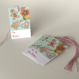 Gingerbread holiday gift tags by Chandler O'Leary