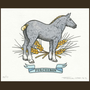 Hand-painted letterpress horse print by Chandler O'Leary
