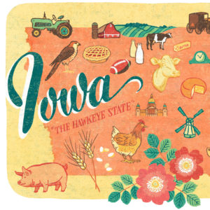Detail of Iowa illustration by Chandler O'Leary