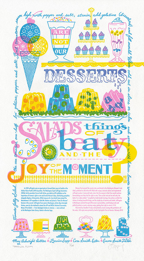"""Just Desserts"" letterpress broadside by Chandler O'Leary and Jessica Spring"