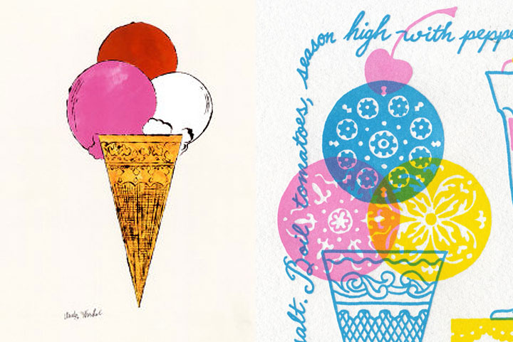 "Detail of ""Just Desserts"" letterpress broadside by Chandler O'Leary and Jessica Spring and Andy Warhol reference"