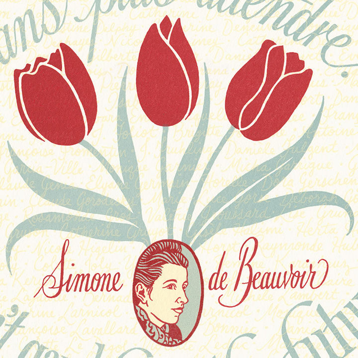 """Detail of """"Liberté, Egalité, Sororité"""" Dead Feminist broadside by Chandler O'Leary and Jessica Spring"""