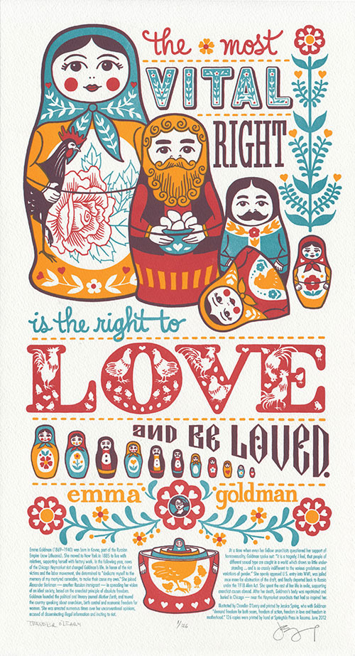 """Love Nest"" letterpress broadside by Chandler O'Leary and Jessica Spring"