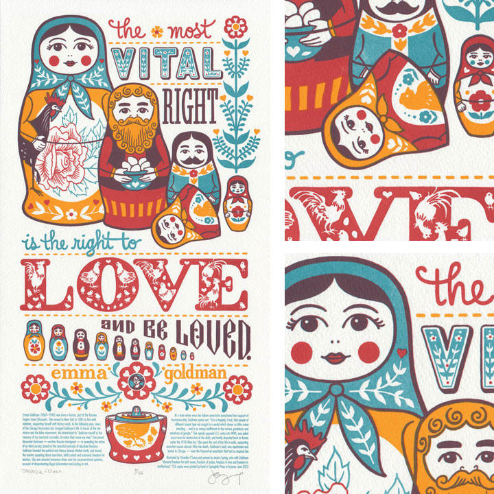 """Love Nest"" Dead Feminists letterpress broadside by Chandler O'Leary and Jessica Spring"