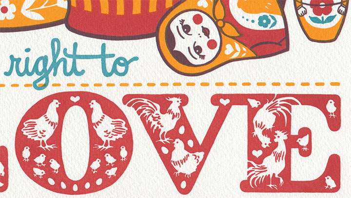 "Detail of ""Love Nest"" letterpress broadside by Chandler O'Leary and Jessica Spring"