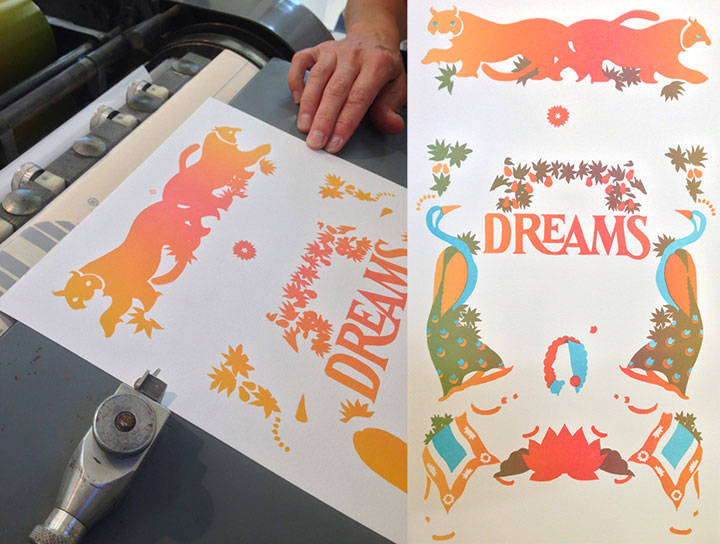 "In-progress photo of ""Nightsong"" letterpress broadside by Chandler O'Leary and Jessica Spring"
