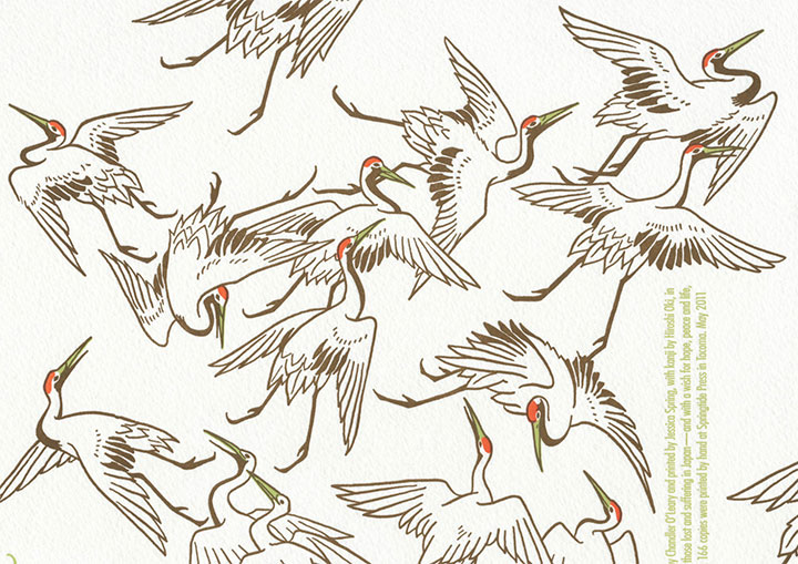 """Detail of """"Peace Unfolds"""" letterpress broadside by Chandler O'Leary and Jessica Spring"""