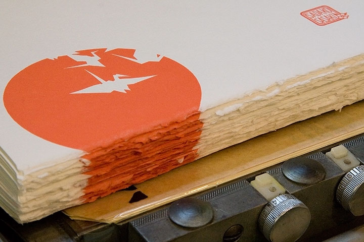 "Process photo of ""Peace Unfolds"" letterpress broadside by Chandler O'Leary and Jessica Spring"