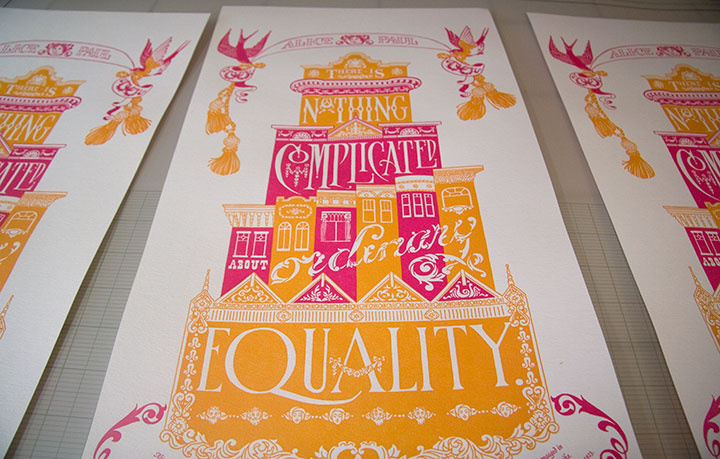 "Printing process photo of ""Prop Cake"" letterpress broadside by Chandler O'Leary and Jessica Spring"