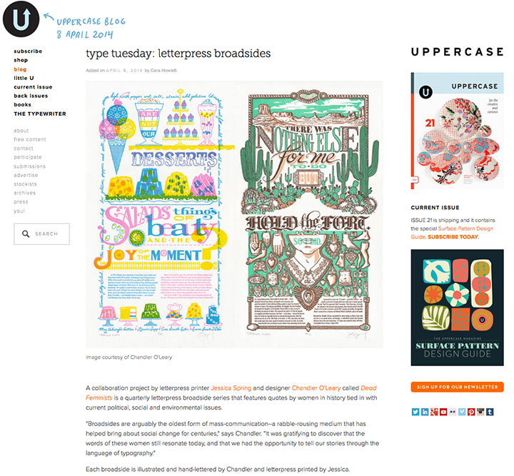 Uppercase Blog feature on Chandler O'Leary and Jessica Spring