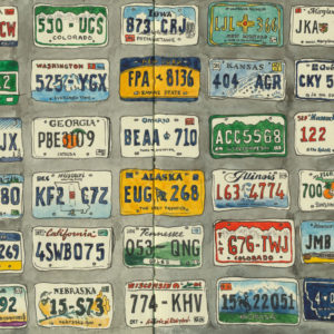 License Plates sketchbook print by Chandler O'Leary