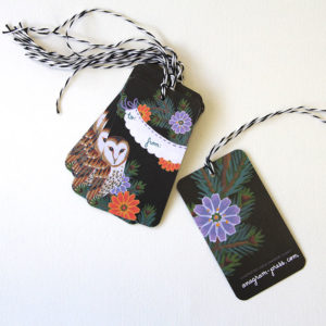 """""""Love Birds"""" gift tags by Chandler O'Leary"""