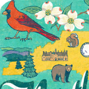 Detail of North Carolina illustration by Chandler O'Leary