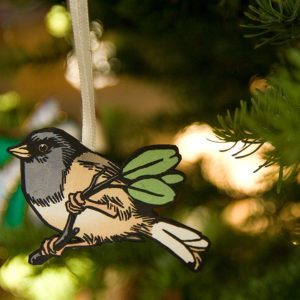 Hand-painted letterpress bird ornament by Chandler O'Leary