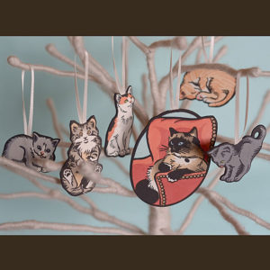 Hand-painted letterpress Itty Bitty Kitty Committee ornaments by Chandler O'Leary