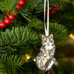 Hand-painted letterpress Itty Bitty Kitty Committee ornament by Chandler O'Leary