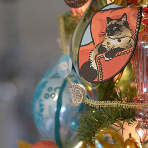 Hand-painted letterpress Itty Bitty Kitty Committee ornament by Chandler O'Leary. Photo by Laurie Cinotto.