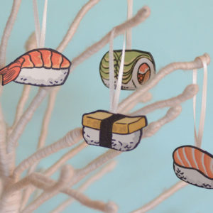 Hand-painted letterpress sushi ornaments by Chandler O'Leary