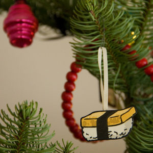 Hand-painted letterpress sushi ornament by Chandler O'Leary