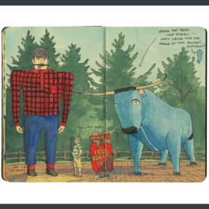 Bemidji Paul Bunyan and Babe sketchbook print by Chandler O'Leary