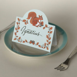 Squirrel & Acorn pop-up place cards by Chandler O'Leary