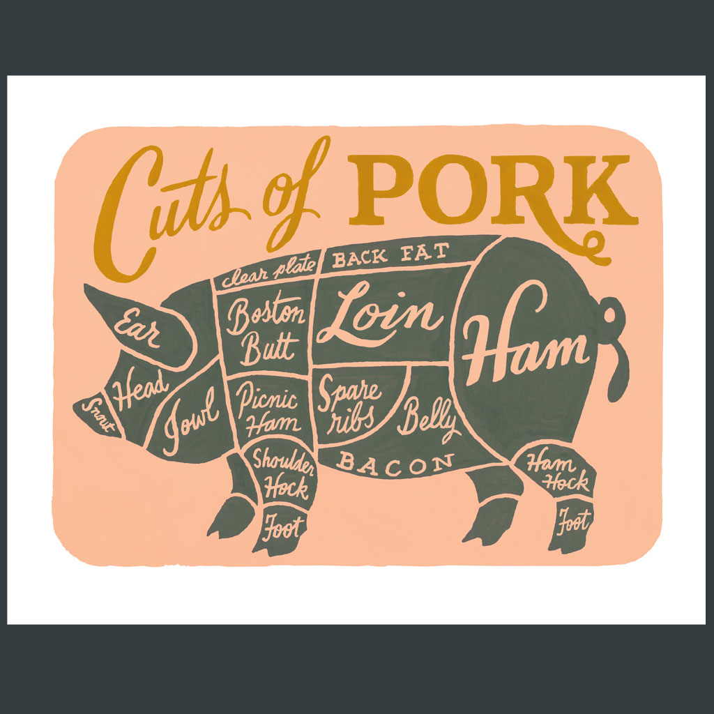 cuts of pork print  u2013 chandler o u0026 39 leary