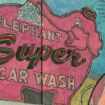 Elephant Car Wash sketchbook print by Chandler O'Leary
