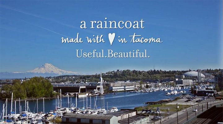 """Made in Tacoma"" promo photo for Sonja Silver's original raincoat, featuring lining pattern illustrated by Chandler O'Leary. Photo by Emilie Firn."