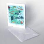 Minnesota card from the 50 States series illustrated and hand-lettered by Chandler O'Leary