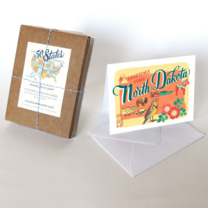 North Dakota card from the 50 States series illustrated and hand-lettered by Chandler O'Leary