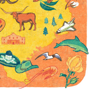 Detail of Texas illustration by Chandler O'Leary
