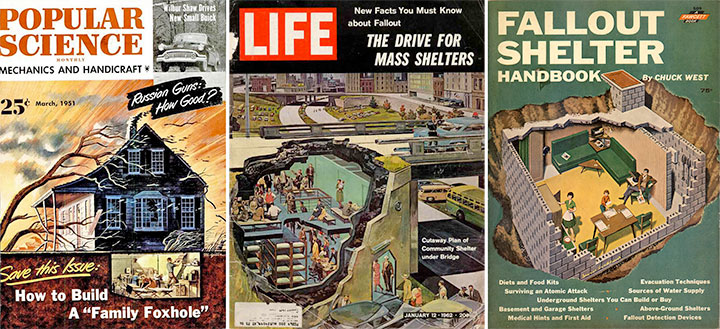 Vintage magazines with articles about fallout shelters