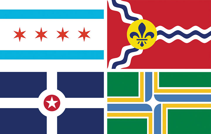 Examples of good flag design: the flags for the cities of Chicago, St. Louis, Indianapolis and Portland, OR