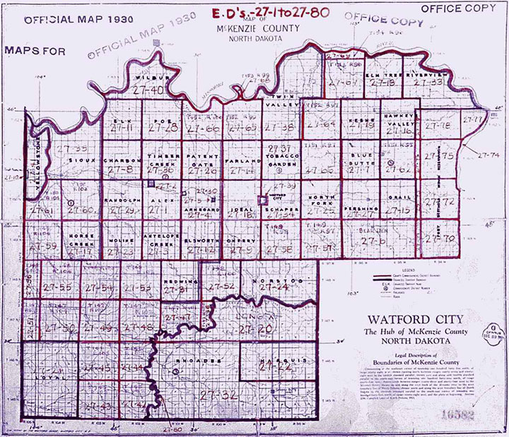 Watford City, ND plat map from 1930