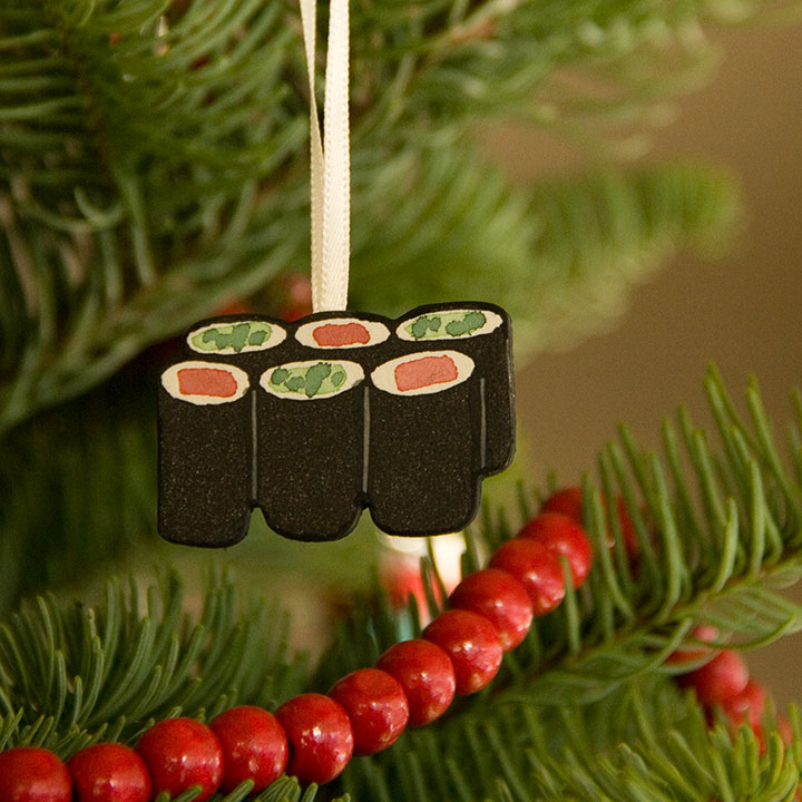 Hand-painted letterpress sushi ornament by Chandler O'Leary - Sushi Letterpress Ornaments €� Chandler O'Leary
